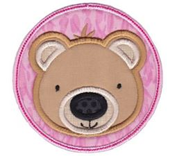 Bear Face In Circle Applique