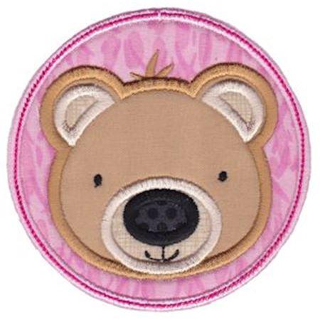 Bear Face In Circle Applique
