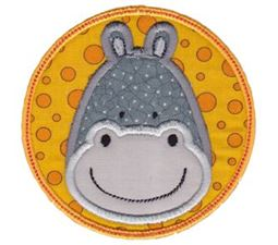 Hippo Face In Circle Applique