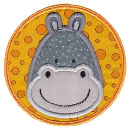 Hippo Face In Circle Applique
