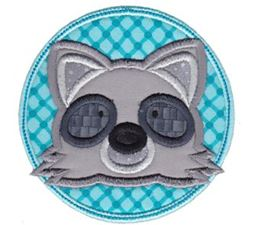 Raccoon Face In Circle Applique