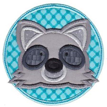 Raccoon Face In Circle Applique