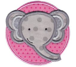 Elephant Face In Circle Applique