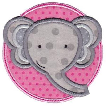 Elephant Face In Circle Applique