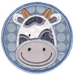 Cow Face In Circle Applique
