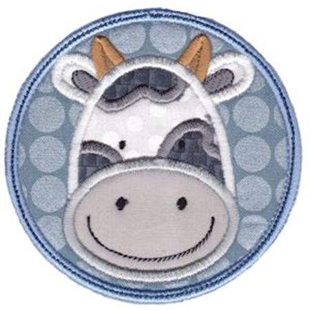 Cow Face In Circle Applique