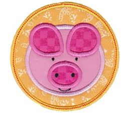 Pig Face In Circle Applique