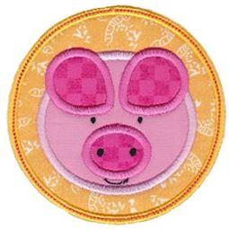 Pig Face In Circle Applique