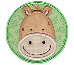 Horse Face In Circle Applique