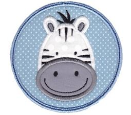 Zebra Face In Circle Applique
