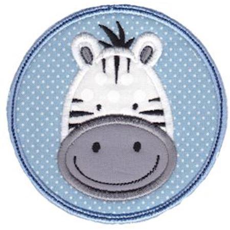 Zebra Face In Circle Applique