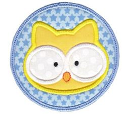 Owl Face In Circle Applique
