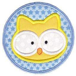 Owl Face In Circle Applique