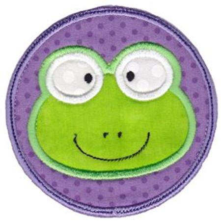 Frog Face In Circle Applique