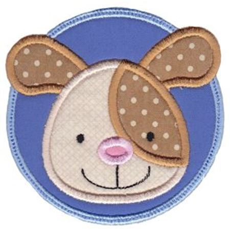 Dog Face In Circle Applique