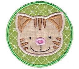 Cat Face In Circle Applique
