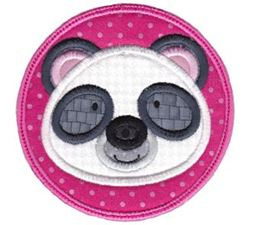 Panda Face In Circle Applique