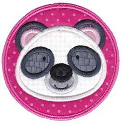 Panda Face In Circle Applique