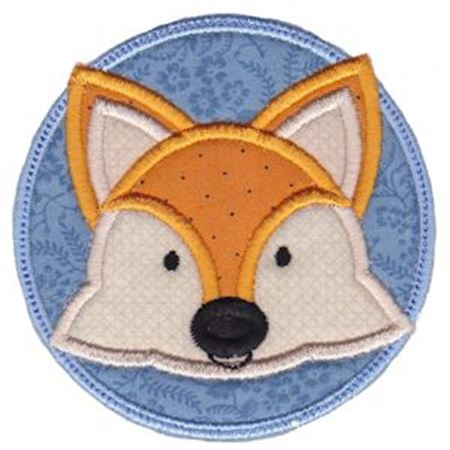 Fox Face In Circle Applique