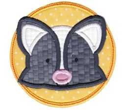 Skunk Face In Circle Applique
