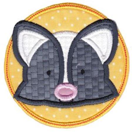 Skunk Face In Circle Applique