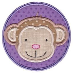 Monkey Face In Circle Applique