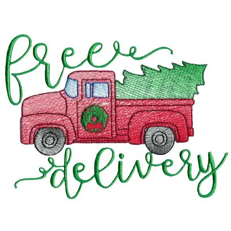 Vintage Sketch Red Truck Free Delivery