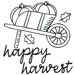 Wheelbarrow of Pumpkins Happy Harvest