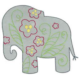 Floral Elephant Applique