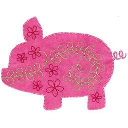 Floral Pig Applique