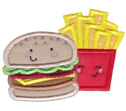Hamburger and Fries Applique