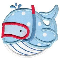 Snorkeling Whale Applique