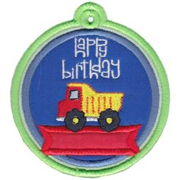 Happy Birthday with Dump Truck Gift Tag