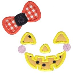 Girl Jack O Lantern Face Applique