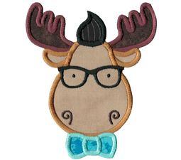 Hipster Moose Face Applique