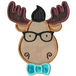 Hipster Moose Face Applique