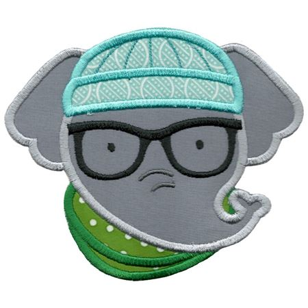 Hipster Elephant Face Applique