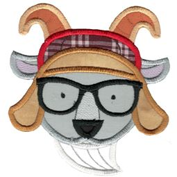 Hipster Goat Face Applique
