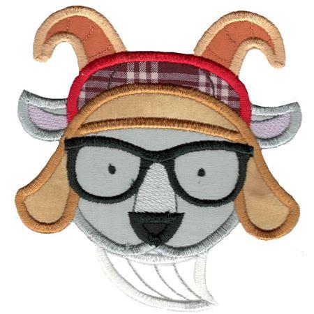 Hipster Goat Face Applique