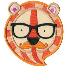 Hipster Tiger Face Applique