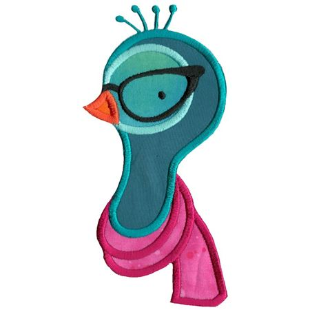 Hipster Peacock Face Applique