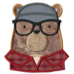 Hipster Bear Face Applique