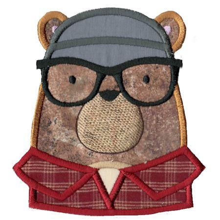 Hipster Bear Face Applique