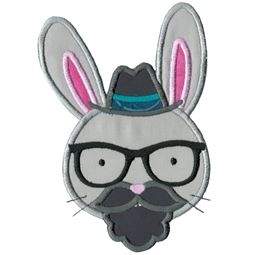Hipster Rabbit Face Applique