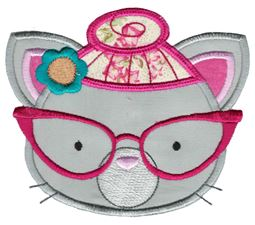 Hipster Cat Face Applique