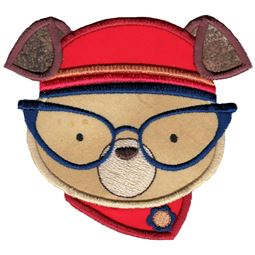 Hipster Dog Face Applique