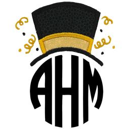 New Years Top Hat Monogram Topper