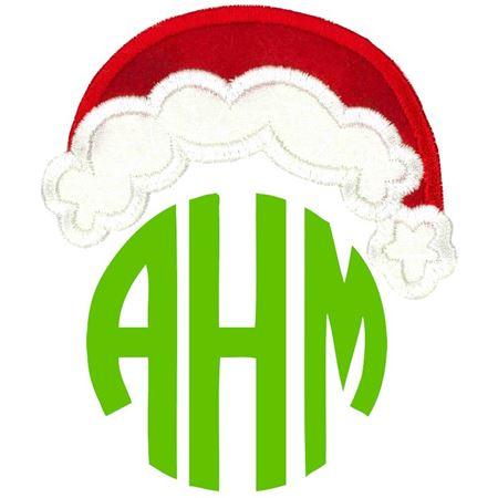 Curved Santa's Hat Monogram Topper