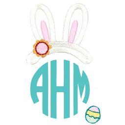 Easter Bunny Ears Girl Monogram Topper