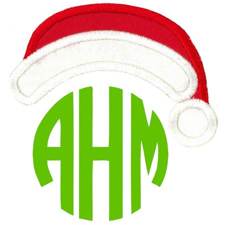Rounded Santa's Hat Monogram Topper